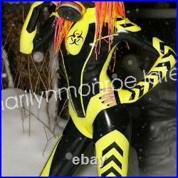 100%Latex Pure Gummi Rubber Stylish Bright Race Suit Catsuit Suit Size Cosplay