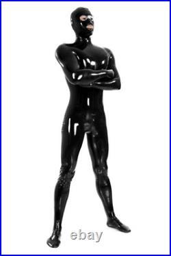 100% Latex Rubber Catsuit Black Zipper Cosplay Sexy Tight Bodysuit S-XXL 0.4mm