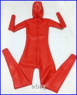 100%Latex Rubber Gummi 0.8mm Catsuit Bodysuit Suit Fashion RED Classic // Hood