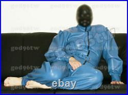 100% Latex Rubber Gummi Catsuit 0.8mm Suit Bodysuit Zentai Unitard Costume Blue