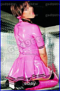 100% Latex Rubber Gummi Dress 0.45mm Skirt Party Queen Catsuit Suit Uniform Pink