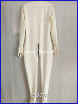 100% Latex Rubber Men Handsome All-body Suit Bodysuit Catsuit White Size XXS-XXL