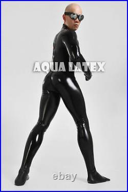 Black Tight Latex Catsuit with Five-toe Socks Man's Rubber Bodysuit Zentai Suit