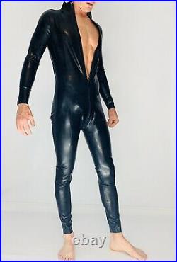 Catsuit Latex Front Zipper Catsuit Black 0.8 mil Latex Rubber 100% Latex