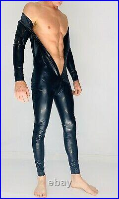 Catsuit Latex Front Zipper Catsuit Black 1.0 m Heavy Latex Rubber 100% Latex