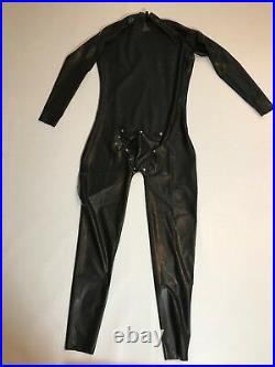 Catsuit Latex Rubber shoulder Zipper with COD piece 0.4 mil Black100% Latex