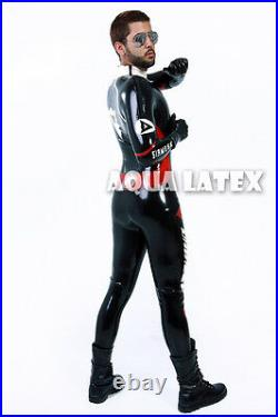 Custom Moto Suit Man Rubber Bodysuit Latex Costume Manly Catsuit