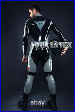 Custom Moto Suit Zip Front Rubber Latex Catsuit, Man's Tight Gummi Bodysuit