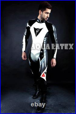 Custom Rubber Moto Catsuit, Man's Natural Latex Bodysuit, Tight & Sexy