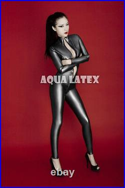 Free Shipping Sexy Woman Latex Catsuit Rubber Suit Zentai (3 way front zipper)