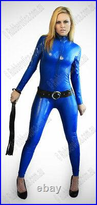 LARGE 100% Latex Rubber BLUE Catsuit Second Skin Top Quality HOT Body Suit