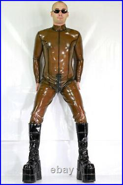 Latex Rubber Catsuit Overall Whole Body Transparent Black