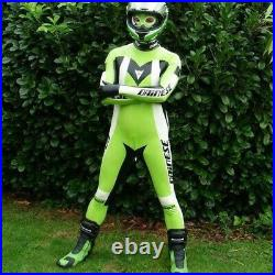 Latex Rubber Catsuit White Green Overall Tight Cosplay Sport Racing Suit 0.4mm