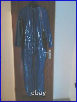 Latexkleidung Catsuit blau schwarz XXL Übergrösse/Breite RV genderunisex rubber