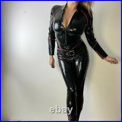 Libidex Avenger Catsuit & Belt Size L 12 14 Latex Rubber Black Red Gummi Cosplay