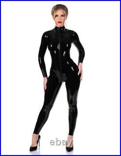 Libidex latex rubber gummi Black Front zip Matrix Catsuit catwoman WITH FEET