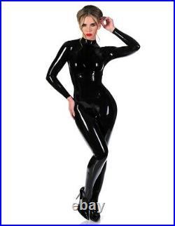 Libidex latex rubber gummi Corset catsuit catwoman batwoman with feet Black L