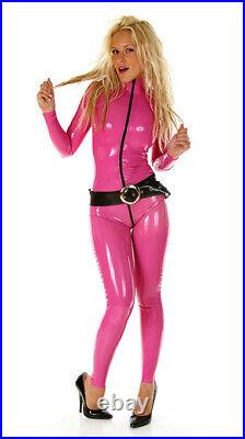 MEDIUM 100% Latex Rubber DEEP PINK Catsuit Second Skin Top Quality Body suit HOT