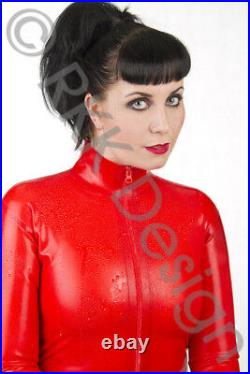 MEDIUM 100% Latex Rubber RED Catsuit Second Skin Top Quality HOT
