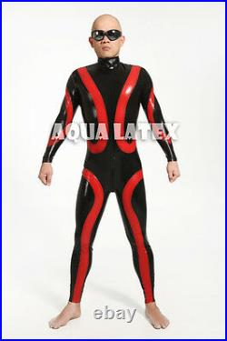Man Black and Red Tight Fit Latex Catsuit, Sexy Rubber Bodysuit