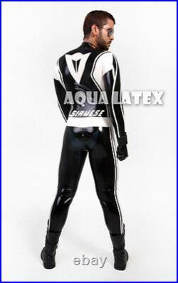Men Custom Moto Latex Catsuit Rubber Tight Fit Handsome Body Suit