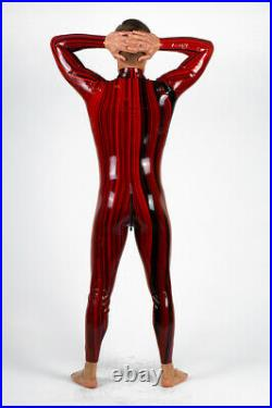 Men's balck red bicolor Latex Rubber Catsuit Easy-On (Chlorinated)