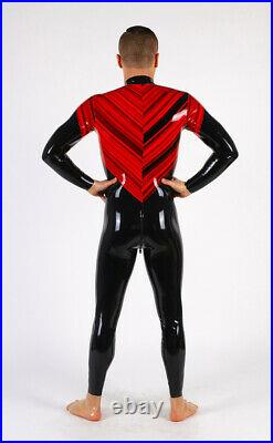 Men's balck red bicolored Latex Rubber Catsuit Easy-On (Chlorinated)