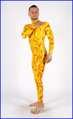 Men yellow red bicolored Latex Rubber Catsuit Easy-On (Chlorinated) FIRE