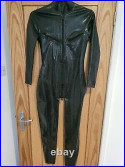 NEW Latex Rubber Catsuit zipped open boob Jumpsuit Playsuit bodysuit UK seller