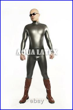 Neck Entry Tight Rubber Latex Catsuit with Cod Piece in Metallic color