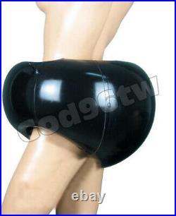 New 100% Latex Rubber Gummi 0.45mm Inflatable Shorts Briefs Catsuit Suit Black