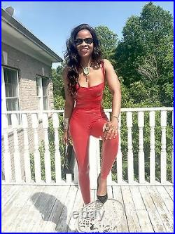 New Custom full length Lipstick red dressy Latex rubber catsuit Jumpsuit pants s