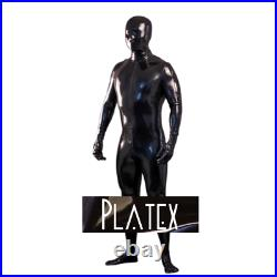 Platex Latex Rubber Gummi Mens Cosplay 0.4mm Catsuit with socks, gloves & hood