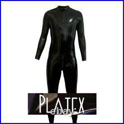 Platex Latex Rubber Gummi Mens Cosplay CHLORINATED Catsuit with 3-way Zip