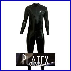 Platex Latex Rubber Gummi Mens Cosplay CHLORINATED Catsuit with 3way Zip & Socks
