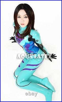 Plug Suit Latex Rubber EVA Asuka Langley Catsuit Bodysuit Cosplay Latex Costume
