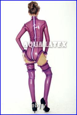 Purple Rain Sexy Rubber Latex Suit Ruffle Leotard Latex Catsuit with Stockings