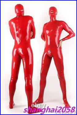 Real Latex Rubber Gummi 0.48mm Catsuit Bodysuit Suit Fashion Red Men's new sexy