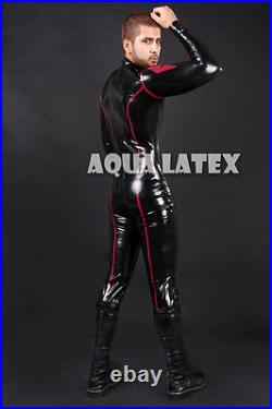 Red Marvel Rubber Sexy Catsuit, Man's Latex Body Suit, Black with Trim