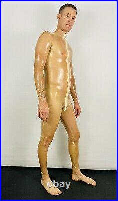 Rubber Latex Catsuit Front Zip 0.3 mil 100% Latex Rubber Natural Transparent