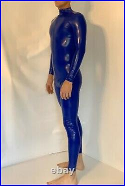 Rubber Latex Catsuit Front Zip 0.4 mil 100% Latex Rubber Blue