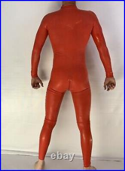 Rubber Latex Catsuit Front Zip 0.4 mil 100% Latex Rubber Red