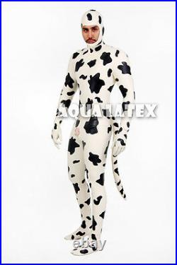 Rubber Latex Cow Catsuit with Inflatable Tail Latex Costume with Open Face Hood