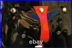 Rubber Latex Zip Shoulder Cod Piece Catsuit with Rear Zip