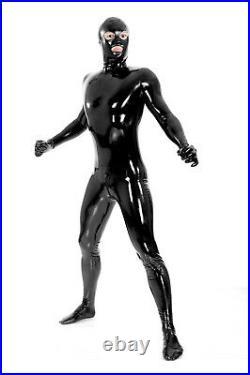 Unisex Fetish Rubber Latex Catsuit Zentai Bodysuit Full Cover Gummi Jumpsuit