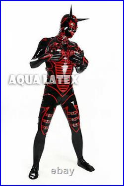Unisex Latex Rubber Catsuit with Inflatable Breasts, Cross Dress Evil Catsuit
