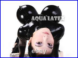Unisex Rubber Latex Catsuit with Inflatable Breasts Bosom Black Sexy Bodysuit