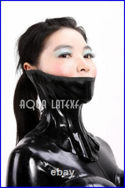 Unisex Rubber Latex Catsuit with Inflatable Breasts and Neck Corset Waist Corset