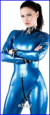 Westward Bound Tiziana Latex Catsuit Pearl Sheen Blue with Black Trim