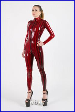 Women balck red bicolor Latex Rubber Catsuit Easy-On (Chlorinated)